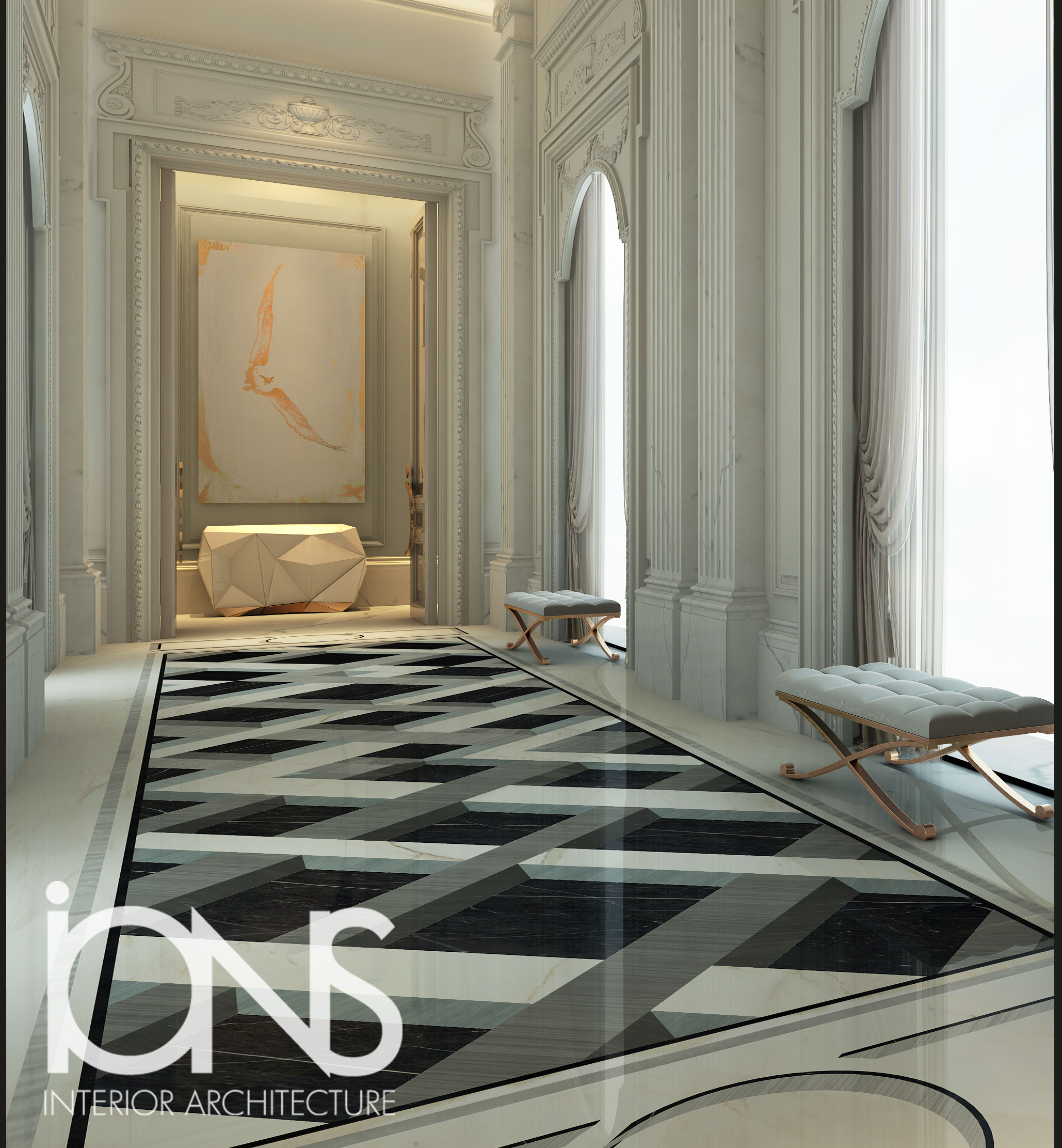 Ions Interior Design Dubai regal design ideas for palace hallway | ions design