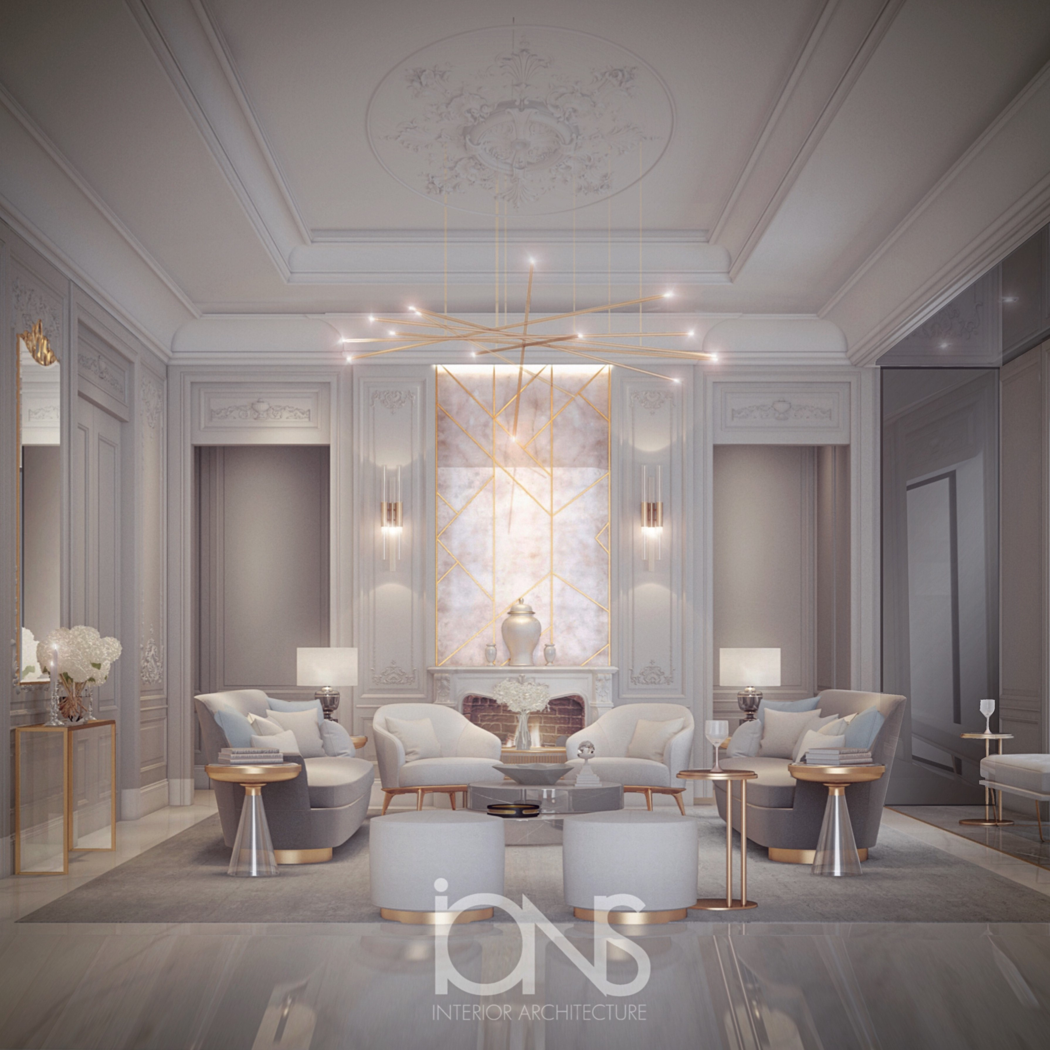 Ions Interior Design Dubai living room design in transitional style | ions design