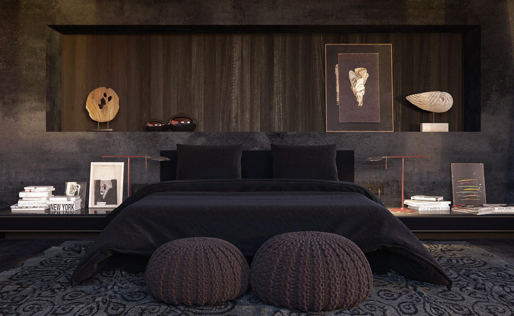 Inspirasi Kamar Tidur Warna Gelap Yang Menenangkan Wah Tidur Jadi Makin Pulas Desain kamar warna hitam