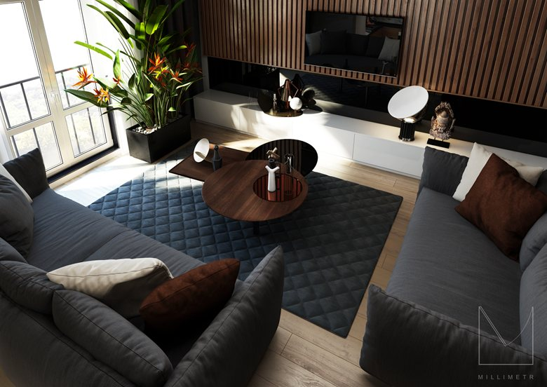 The project is a modern two-level apartment in Kazan area of 83 square meters.