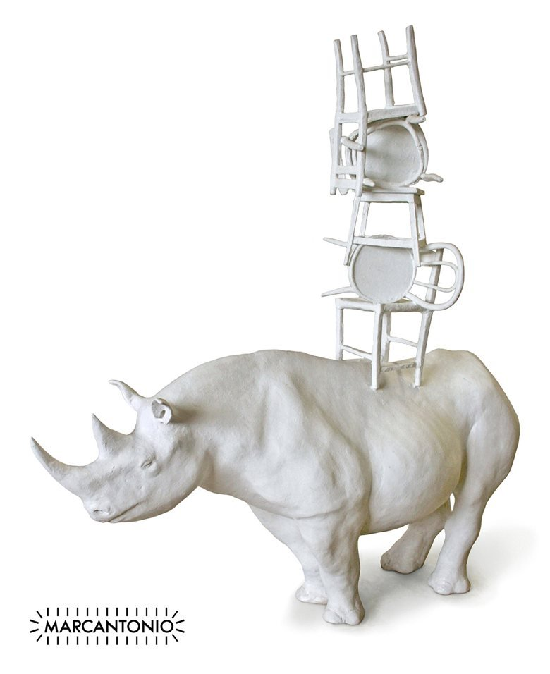 Rinoceronte con sedie