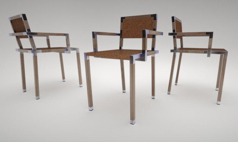 sedia con struttura mista in legno paulownia, angolari e  terminali in alluminio e sedile in legno rivestito di sughero