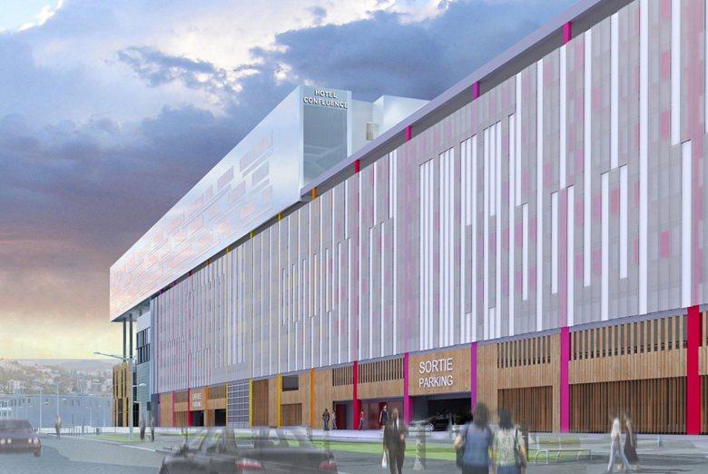 Coloration et animation de la façade du parking-silo du centre multipôle UGC-Accor, Lyon La Confluence