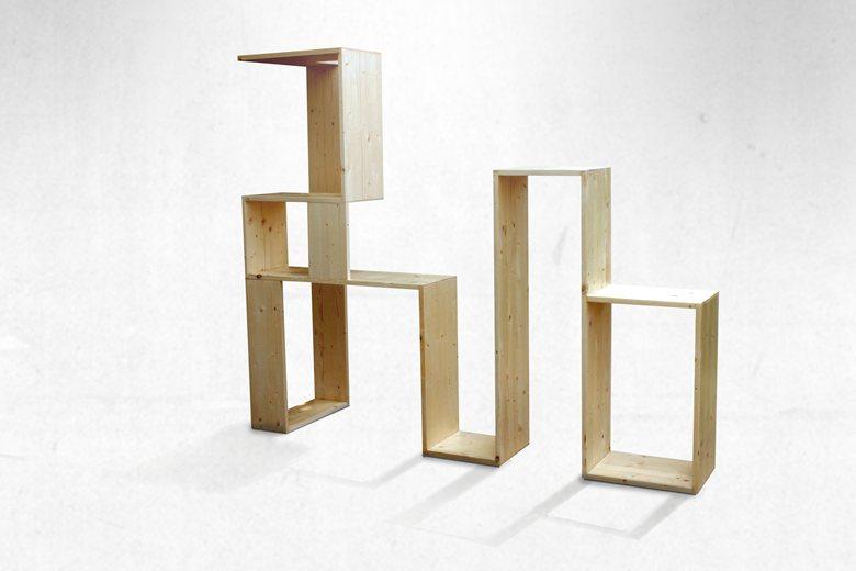 Bottle wood shelf designed for a Wine bar