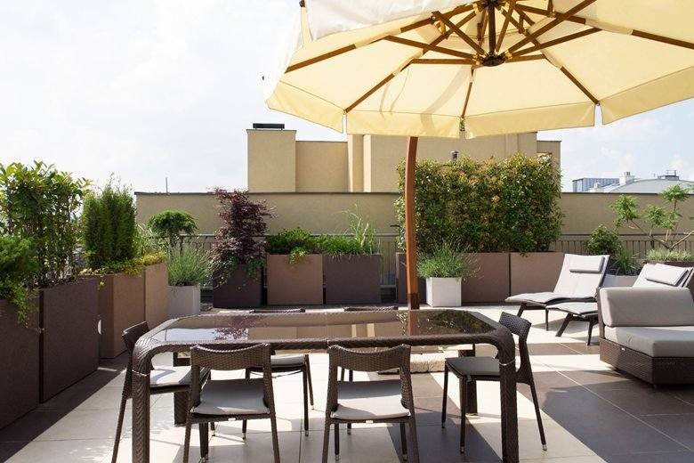 Roof Terraces with City Center view