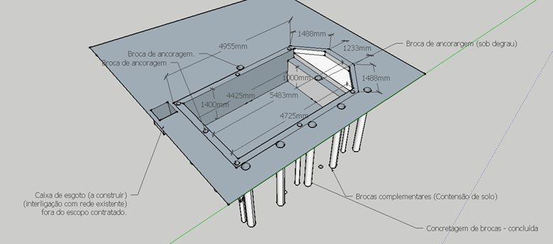 Piscina em alvenaria estrutural - Contensão de solo lateral e estrutura em concreto armado
