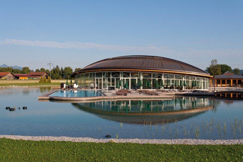 Hotel with big pond