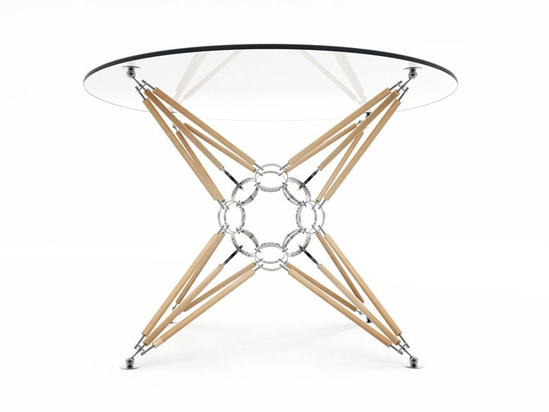 """Table """"8 pyramids"""" with a wooden support. Natural and warm."""