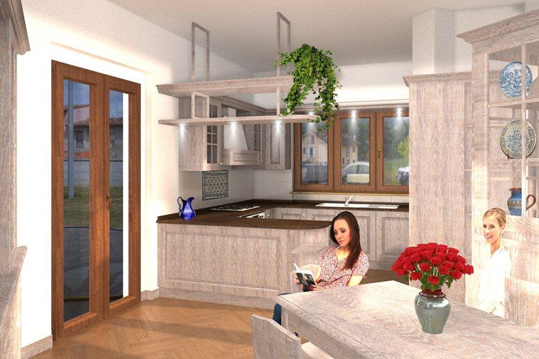 progetto di una cucina di una villa