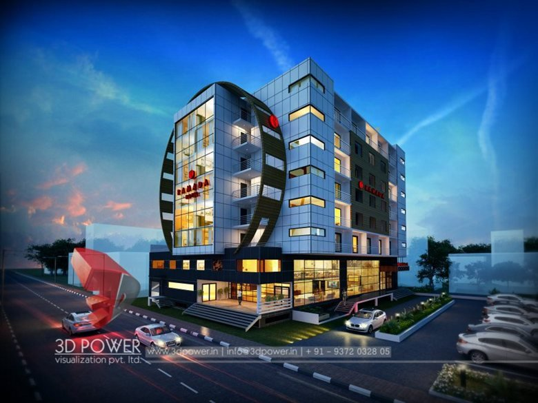 Spectacular 3d hotel exterior rendering and elevation for Design hotel 3d