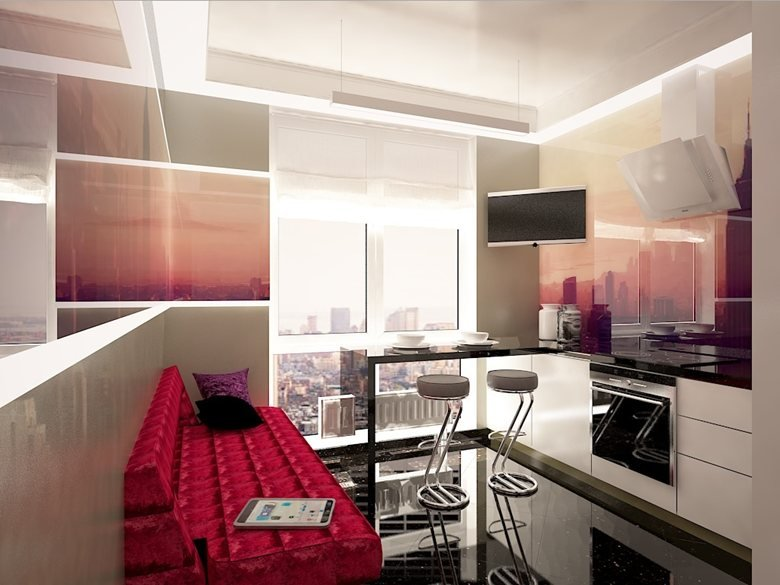 Interior design apartments with an urban landscape in contemporary style