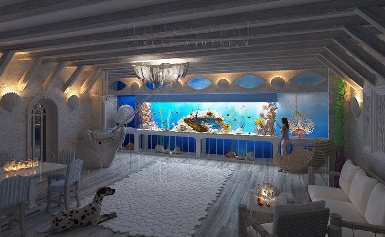 «Luxury Ocean» - large aquarium  in the interior