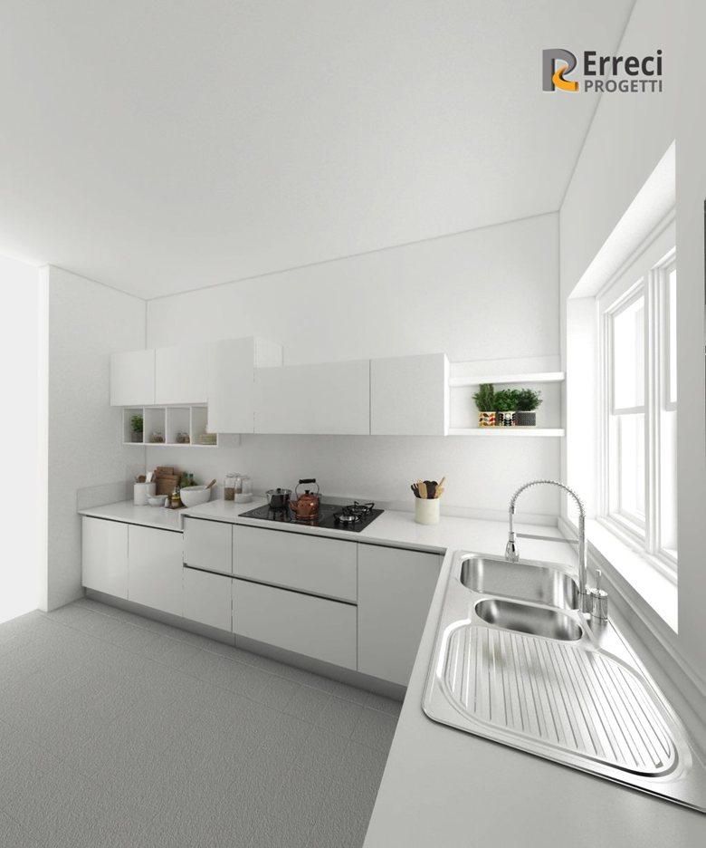 Cucina total white | Erreci Progetti