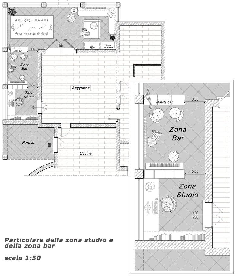 Progetto distributivo per la veranda di una abitazione