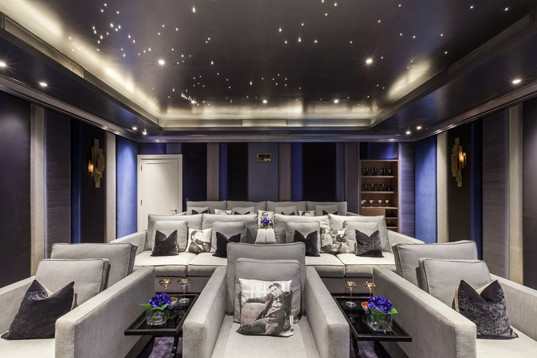 Media Room With Upholstered Walls Mille Couleurs London