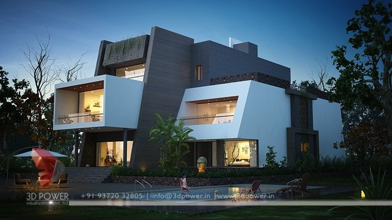 3D Ultra modern day and night rendering and elevation ...