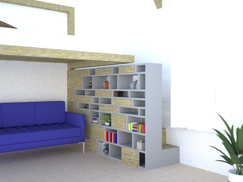 Stairs library for tiny house