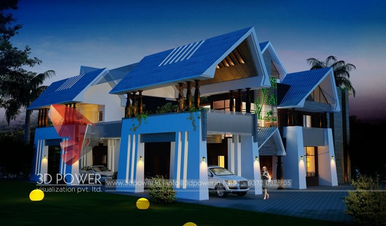 3d Sloping Roof Bungalow Day And Night Rendering Elevation Design By 3d Power Threed Power Visualization Rahul