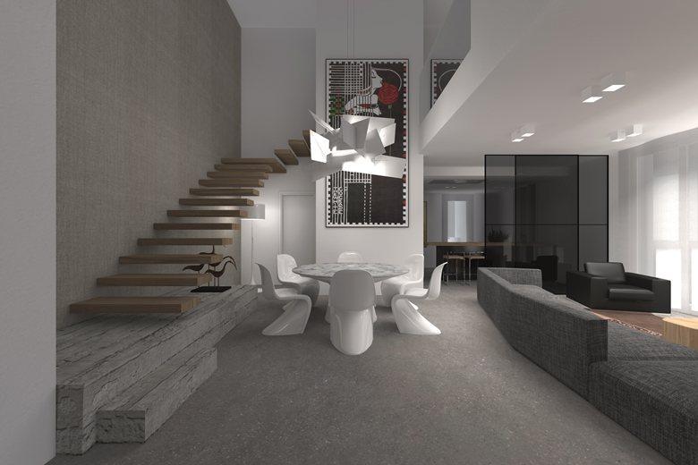 Appartamento con doppia altezza filippo carraro for Progetti interni case