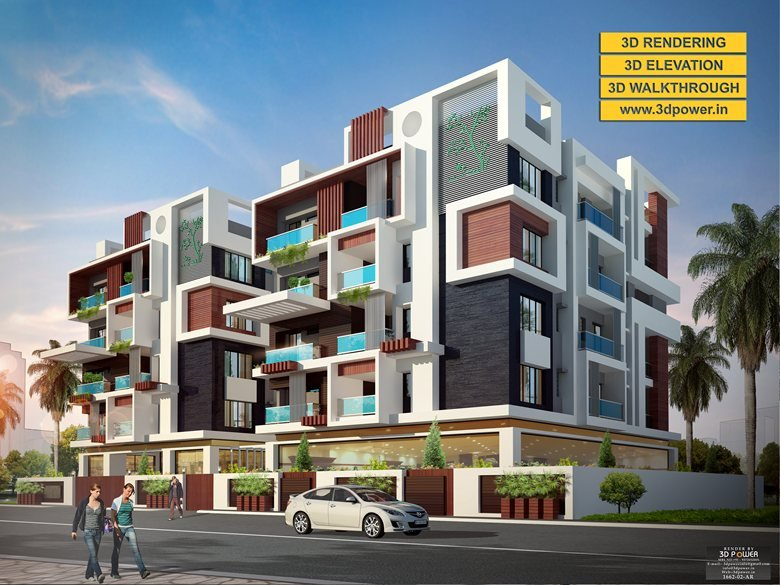 40D Apartment Exterior Day Night Rendering And Elevation Design By Fascinating 3D Bedroom Design Property