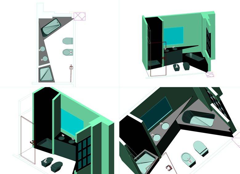 Progetto architettonico degli spazi interni di un appartamento.