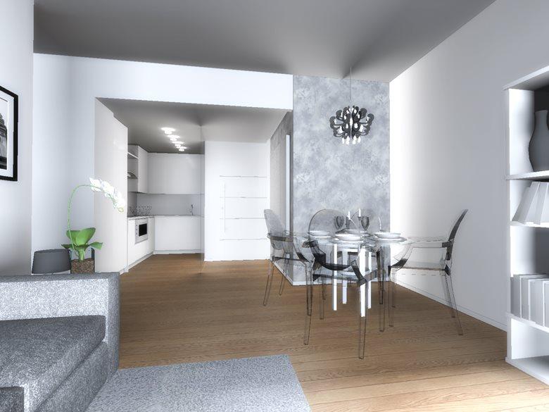 Casa E - progettazione soggiorno con cucina a vista | Carla Costa