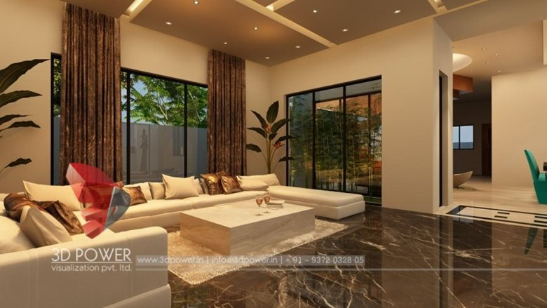 Classic 3d Modern Bungalow Interior Living Dining Rendering Design