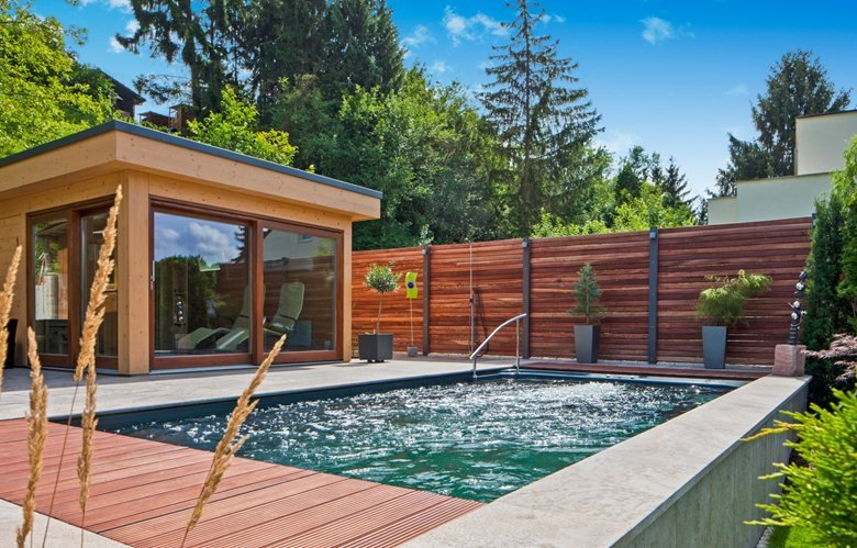 prefabricated pool with poolhouse