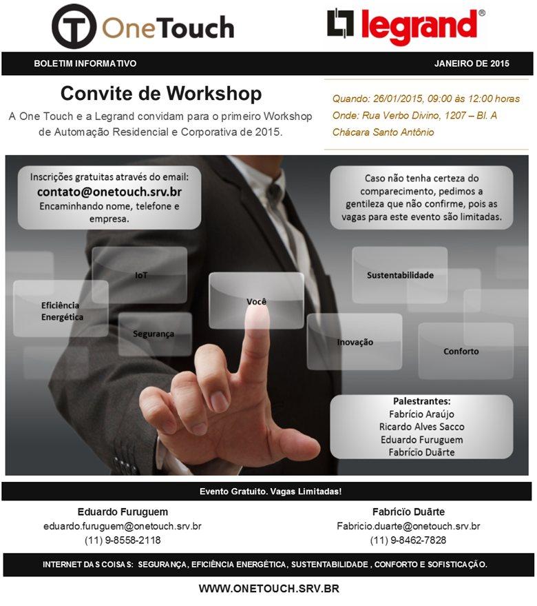 26/01 - Convite Workshop de Automação Residencial e Corporativo exclusivo para profissionais de Arquitetura, Engenharia Civil e Decoração.