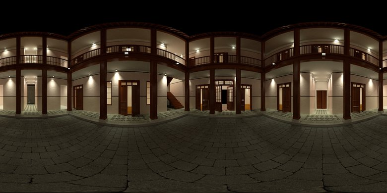 Colonial House - 360 Panoramic Render