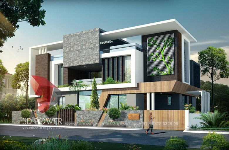 3d Ultra Modern Bungalow Exterior Day Rendering And Elevation Design