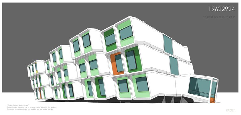 """Competition project of modular buildings for """"Ryterna-modul""""  2014"""