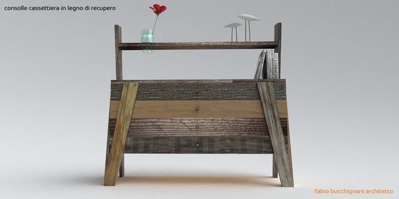 consolle cassettiera in legno di recupero