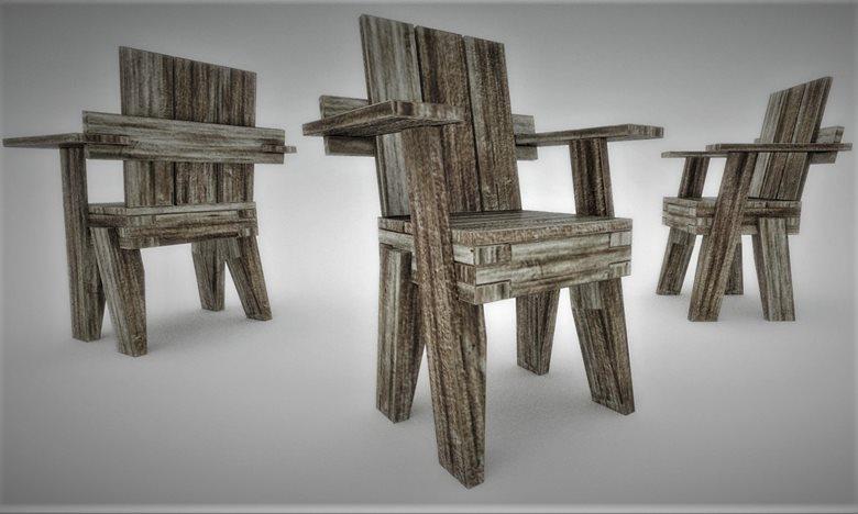 """sedia con braccioli """"1452"""", in legno riciclato da pallet"""