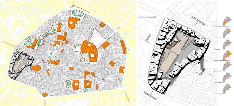 Riqualificazione urbana della piazza Largo Grotte, sita nel centro antico, ed immobili prospicienti