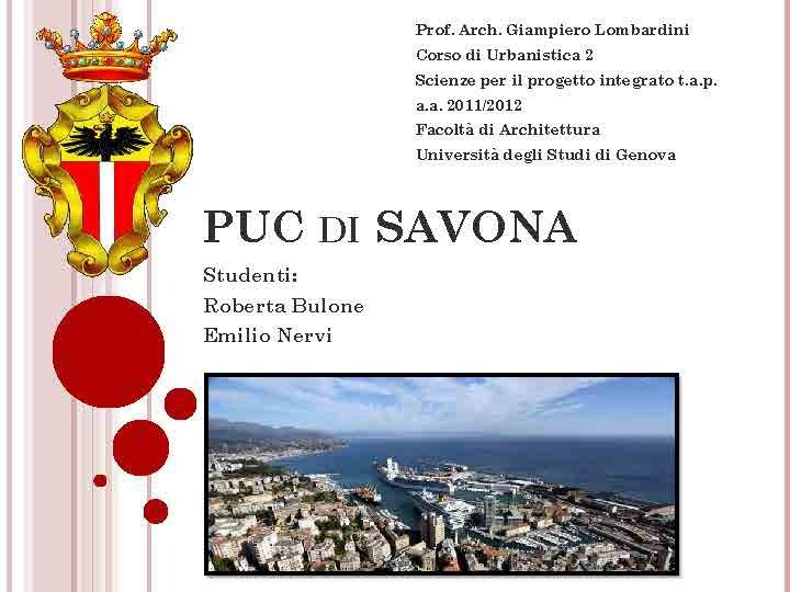 Descrizione PUC DI SAVONA