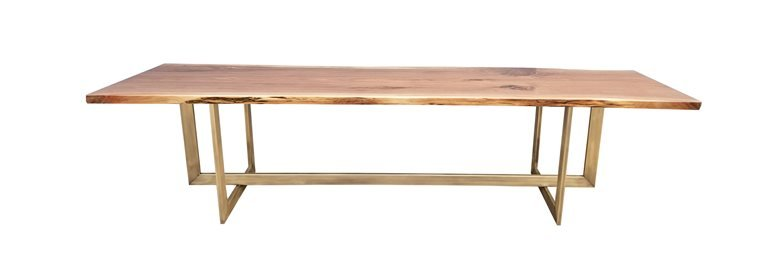 Live edge American Walnut and brass dining table