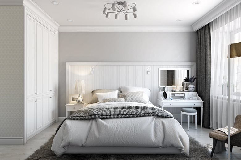 Renders 3d For Master Bedroom Project: White Classic. Bedroom Design Visualization