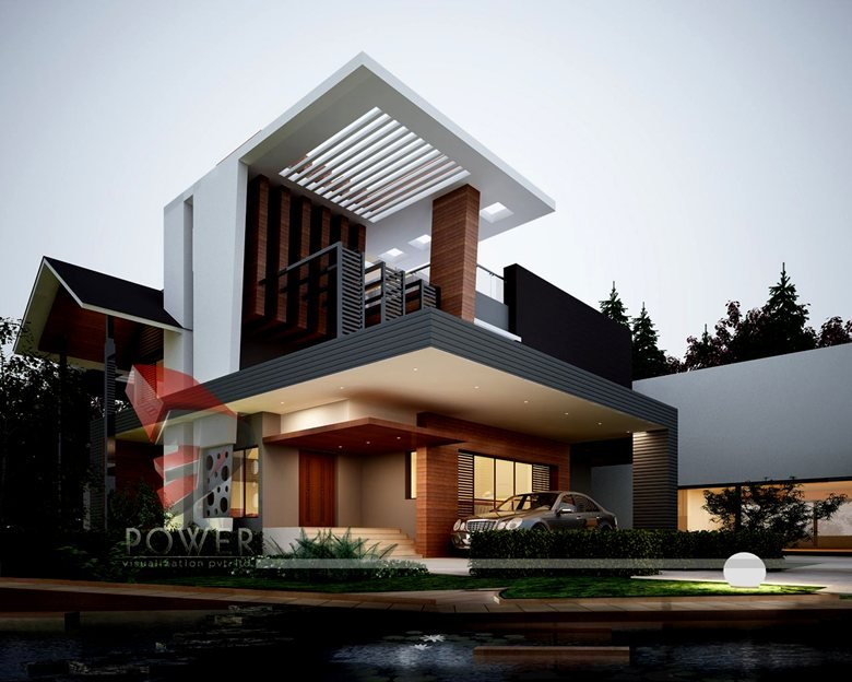3d Modern Farm House Exterior Evening Rendering And Elevation Design