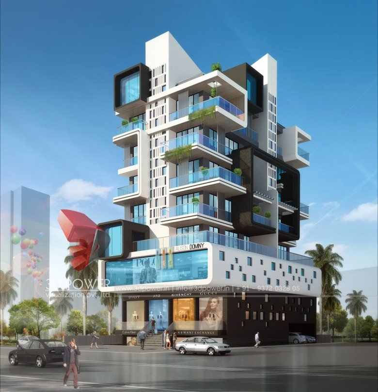 3D Ultramodern Apartment exterior day rendering and ...