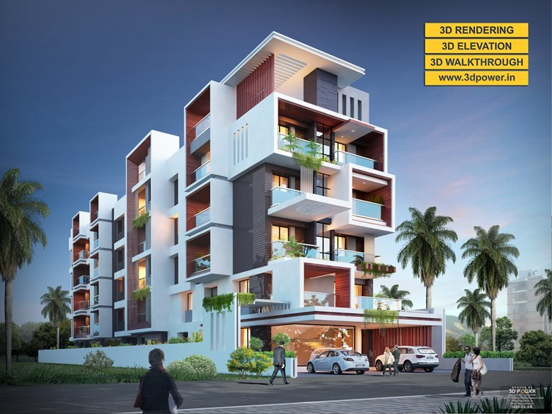 3d Ultramodern Apartment Exterior Day Rendering And Elevation Design