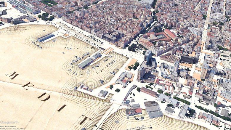 Mappa storica georeferenziata  su Modello 3d Cagliari
