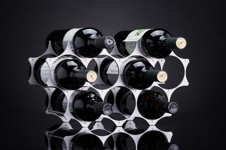 Wine rack of brushed stainless steel