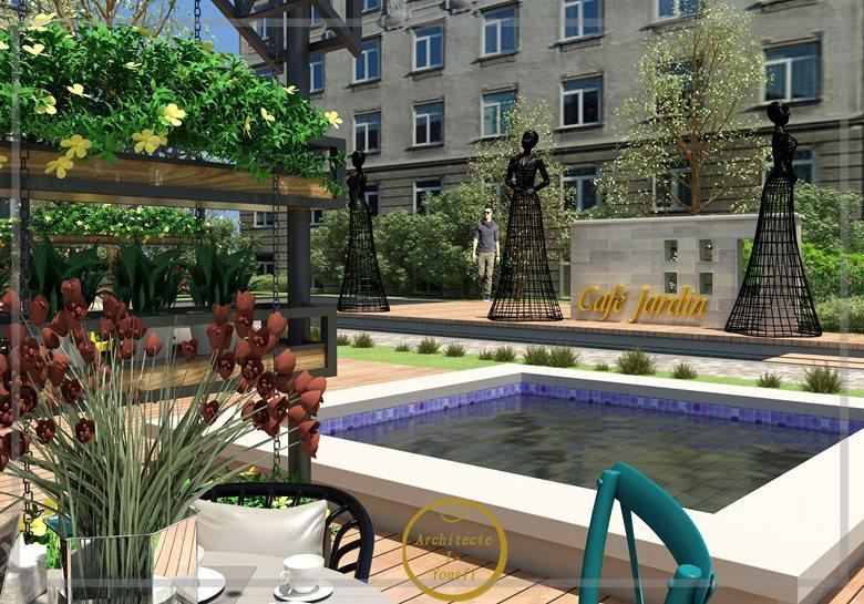 Aménagement extérieur : jardin, terrasse,restaurant et cafétéria ...