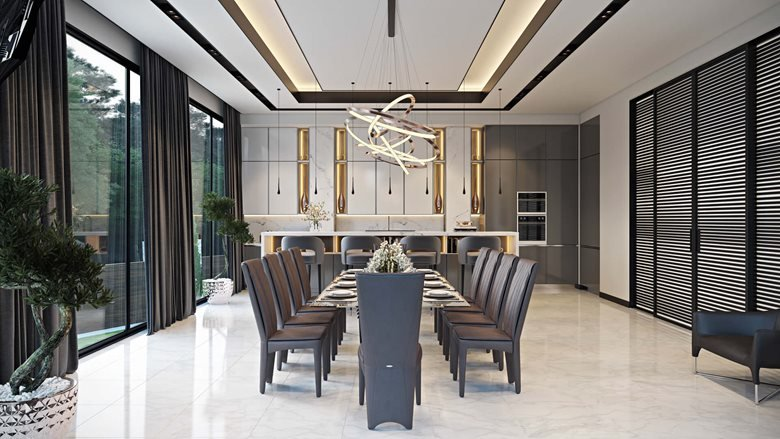Luxury Dining Room With Marble Accents Archicgi Com