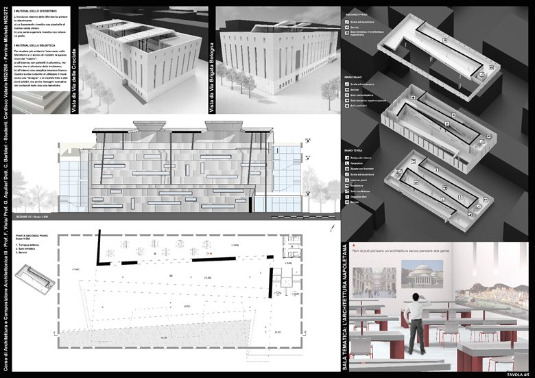 Progetto di una biblioteca nel quartiere di Fuorigrotta (NA)