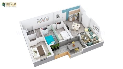 3d Home Floor Plan Design Of Residential Apartment Layout By Architectural Studio Rome Italy Ruturaj Desai