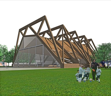 Progetto di una copertura in legno per edificio adibito a palestra