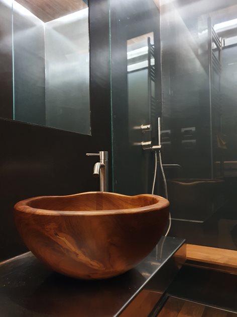 Bagno in legno di teak burma, acciaio inox e resina