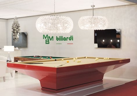 B_IG Billiard table, designed by Architect Massino Iosa Ghini and produced by MBMBiliardi. winner of Good Award Design of Chicago, USA
